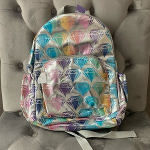 New Claire's Silver Diamond Full Size Backpack